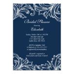Vintage Damask Bridal Shower Invitation Navy Blue