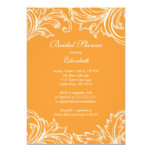 Vintage Damask Bridal Shower Invitation Orange