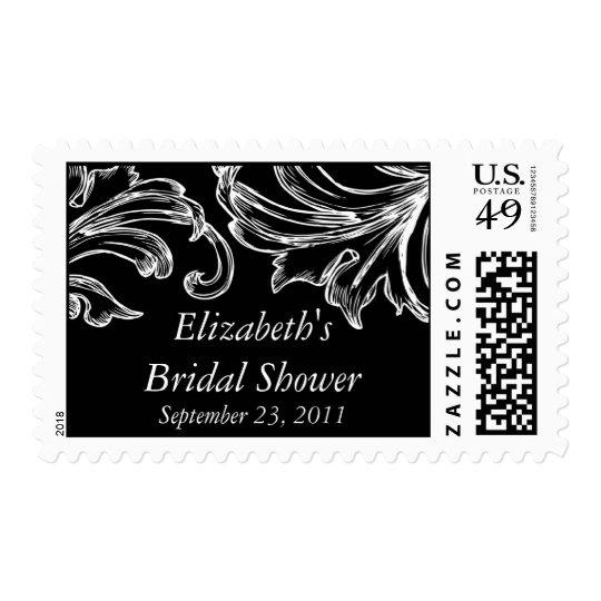 Vintage Damask Bridal Shower Postage Stamp