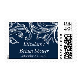 Vintage Damask Bridal Shower Postage Stamp Navy