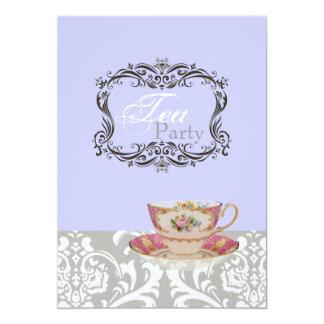 vintage damask bridal shower tea party card