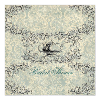vintage damask Bridal Shower Tea Party Invitation