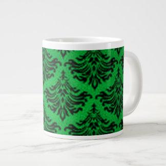 Vintage Damask Brocade Flourish Green and Black 20 Oz Large Ceramic Coffee Mug