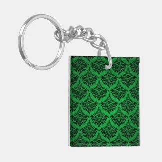 Vintage Damask Brocade Flourish Green and Black Keychain