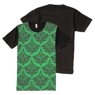 Vintage Damask Brocade Green Black All-Over-Print Shirt