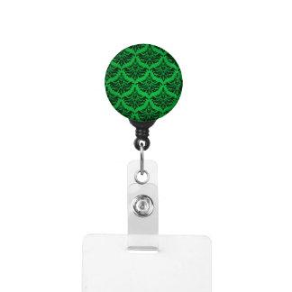 Vintage Damask Brocade Green Black Badge Holder