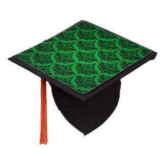 Vintage Damask Brocade Green Black Graduation Cap Topper