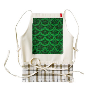 Vintage Damask Brocade Green Black Zazzle HEART Apron