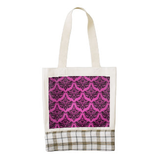 Vintage Damask Brocade Magenta Pink Black Zazzle HEART Tote Bag