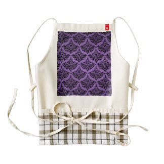 Vintage Damask Brocade Purple Black Zazzle HEART Apron