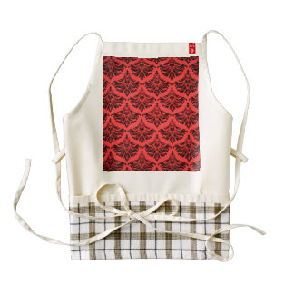 Vintage Damask Brocade Red Black Zazzle HEART Apron
