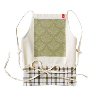 Vintage Damask Brocade Sage Green Zazzle HEART Apron