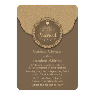Vintage Damask  Brown And Tan Floral Wedding 5x7 Paper Invitation Card