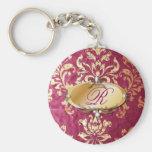 Vintage Damask Burgundy Monogram Fashion Basic Round Button Keychain