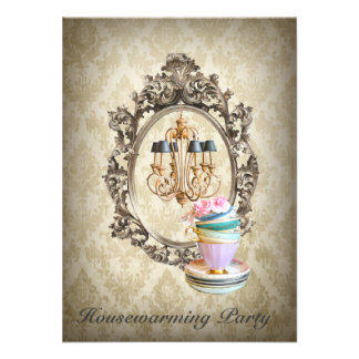 vintage damask chandelier Housewarming Party Personalized Invitation