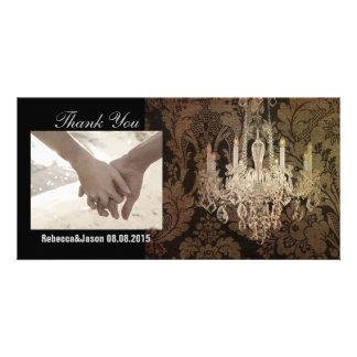 vintage damask chandelier wedding card
