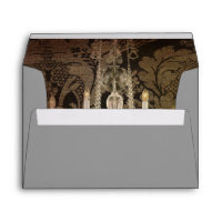vintage damask chandelier wedding envelope