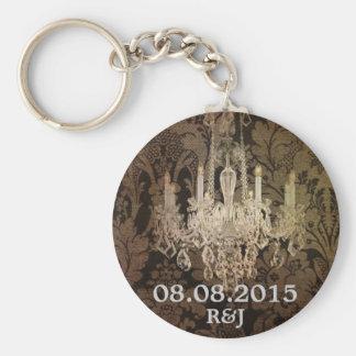 vintage damask chandelier wedding favor keychain