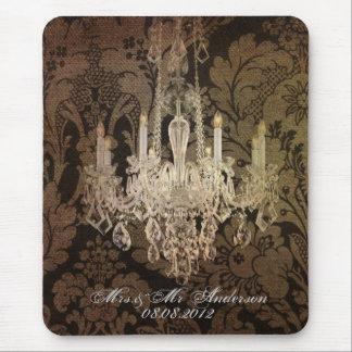 vintage damask chandelier wedding mouse pad
