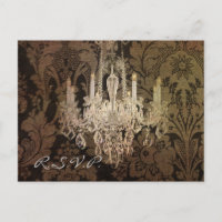 vintage damask chandelier wedding RSVP Invitation Postcard
