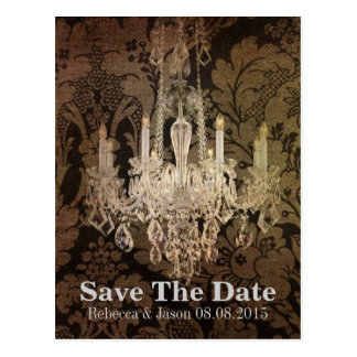 vintage damask chandelier wedding save the date postcard