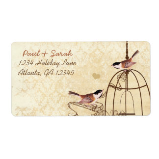 Vintage Damask Chickadees Brown Bird Cage Personalized Shipping Label