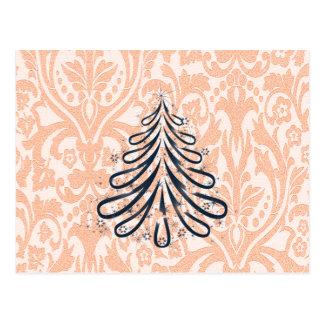 Vintage damask christmas tree monogram postcard