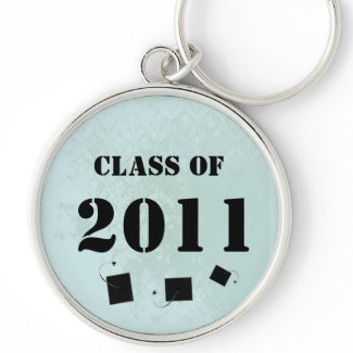 Vintage Damask Class of 2011 Keychain Tossing Caps keychain