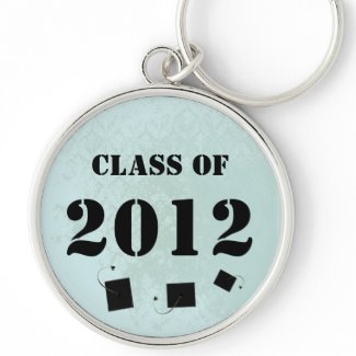 Vintage Damask Class of 2012 Keychain Tossing Caps keychain