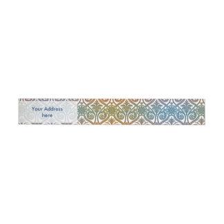 Vintage Damask Contour Wallpaper - blue violet red Wrap Around Address Label