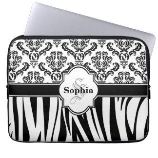 Vintage Damask Cool Zebra Stripes Laptop Sleeves