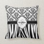 Vintage Damask Cool Zebra Stripes Pillows