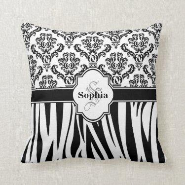 Vintage Damask Cool Zebra Stripes Throw Pillows