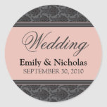 Vintage Damask Coral Wedding Invitation Seal Classic Round Sticker