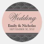 Vintage Damask Coral Wedding Invitation Seal Classic Round Sticker