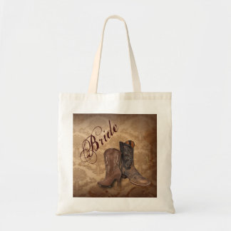 vintage damask Cowboy Boots Country bride Budget Tote Bag