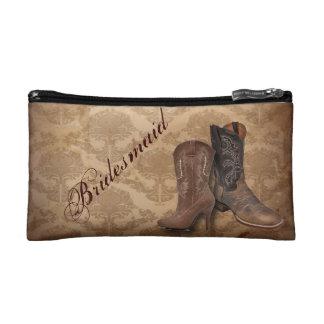 vintage damask Cowboy Boots Country bridesmaid Makeup Bag
