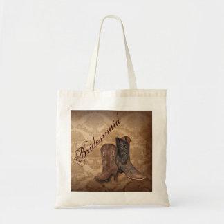 vintage damask Cowboy Boots Country bridesmaid Budget Tote Bag