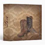 vintage damask Cowboy Boots Country wedding Vinyl Binders