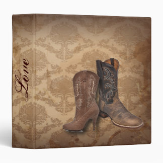 vintage damask Cowboy Boots Country wedding Vinyl Binders