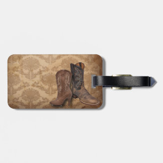 vintage damask Cowboy Boots Country wedding Travel Bag Tags