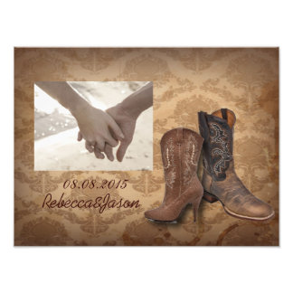 vintage damask Cowboy Boots Country wedding Photo Print