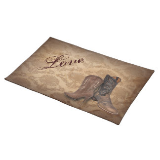 vintage damask Cowboy Boots Country wedding Cloth Placemat