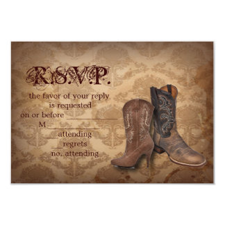 vintage damask Cowboy Boots Country wedding RSVP Custom Invitations