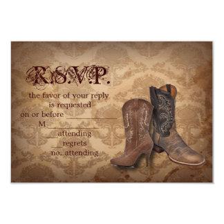 vintage damask Cowboy Boots Country wedding RSVP Custom Invitations