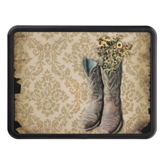 vintage damask cowboy boots western country tow hitch covers