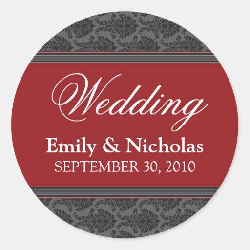 Vintage Damask Cranberry Wedding Invitation Seal Classic Round Sticker