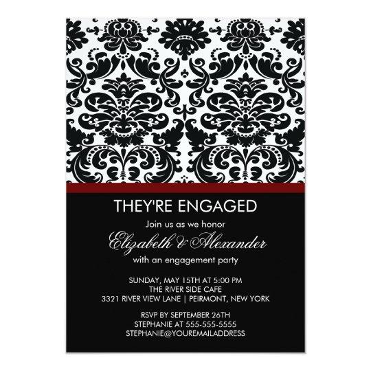 Vintage Damask Engagement Party Invitations
