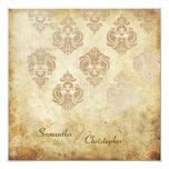 Vintage Damask/faux copper wedding invitations
