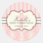 Vintage Damask First Communion Sticker